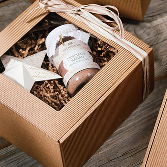 Gift box, natural colour, with window, with Christmas-themed contents