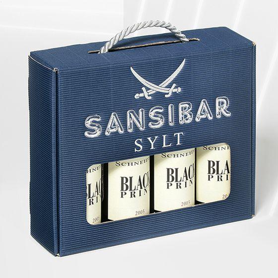 Emballage-cadeau en bleu avec dorure à chaud personnalisée pour Zanzibar