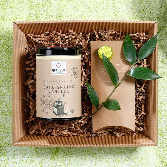 Geschenkkorb Offene Welle in natura mit Kaffee