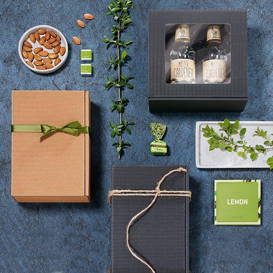 Geschenkboxen diverse Größen Offene Welle in natura und anthrazit