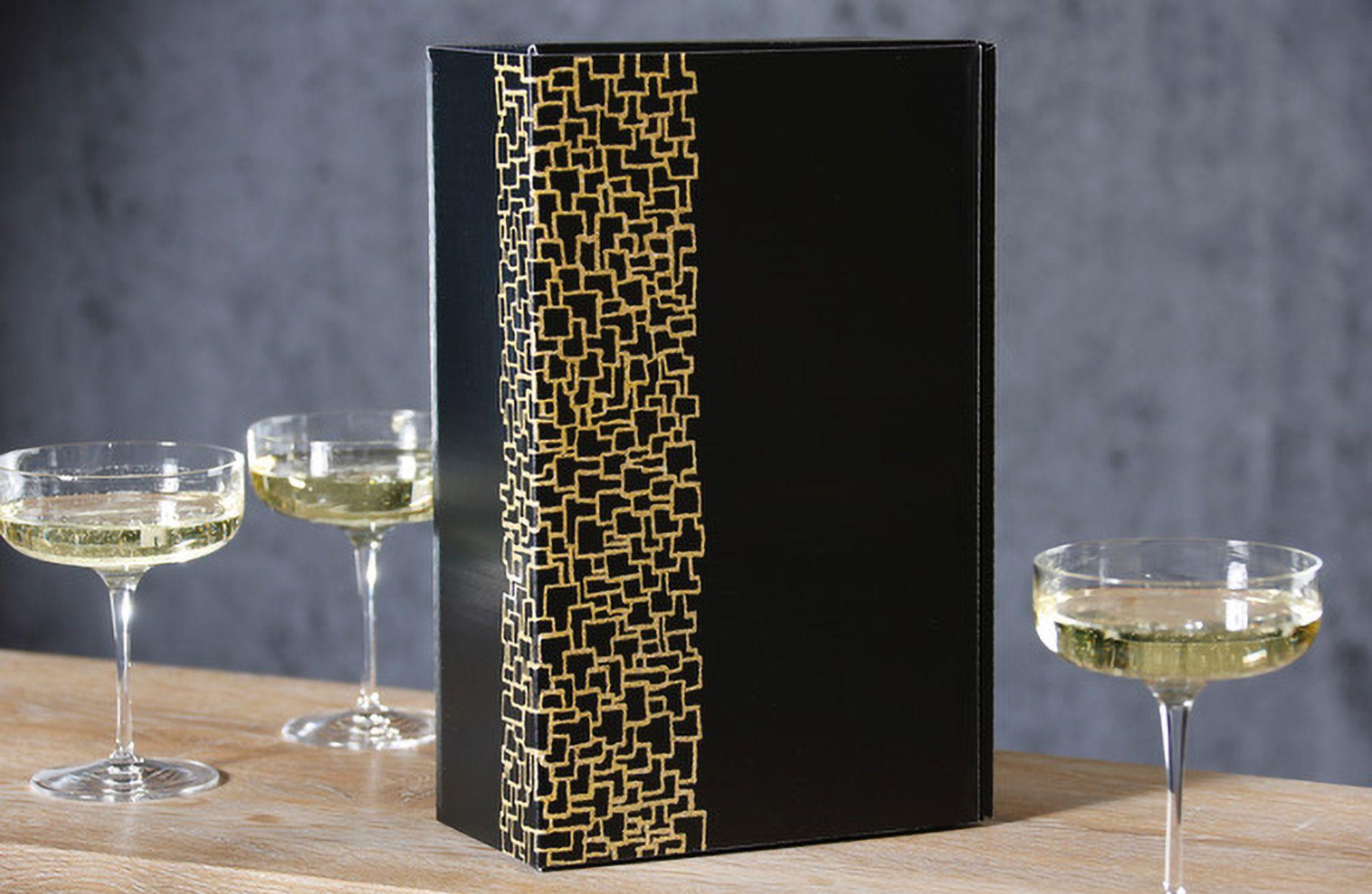 Coffret cadeau pour vin série Opus avec champagne