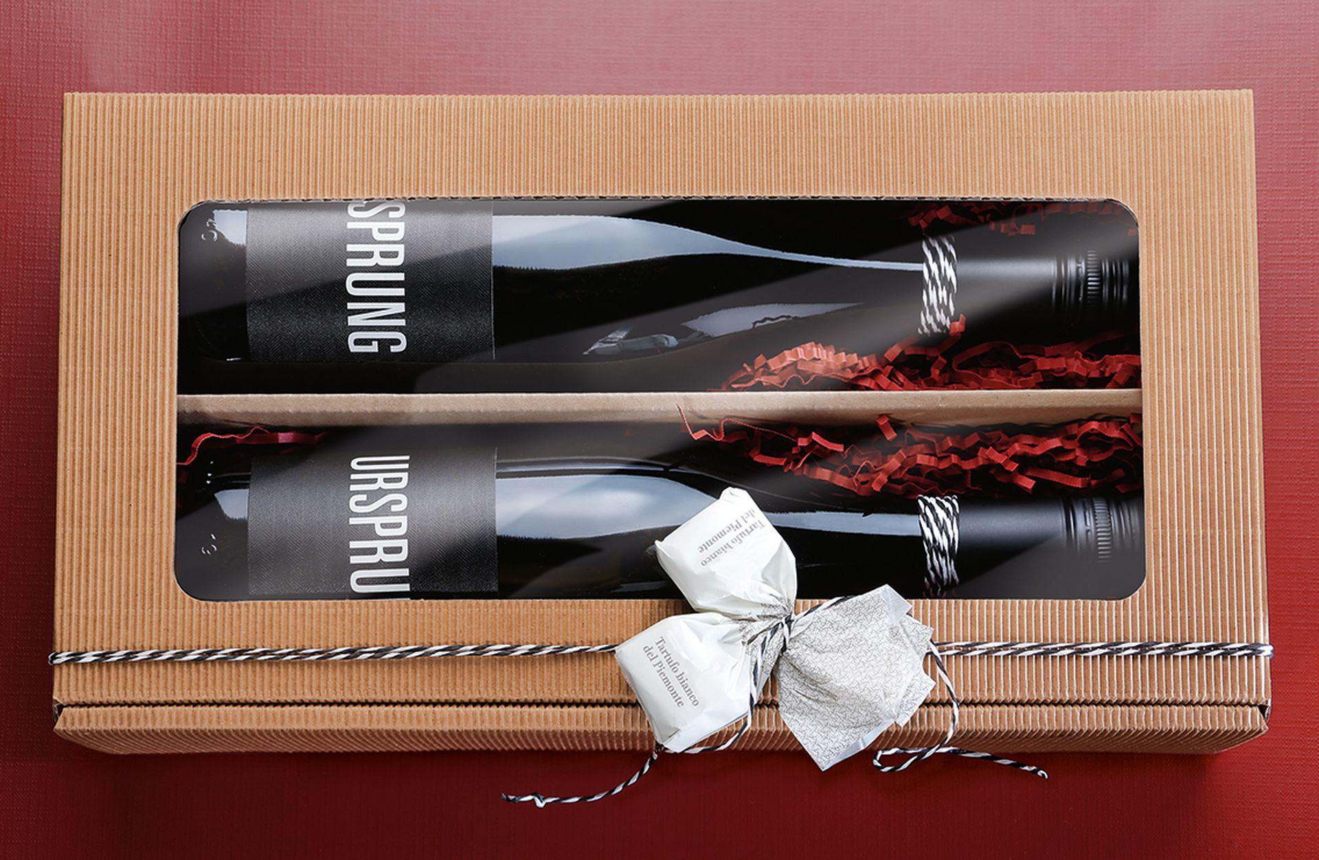 Emballage-cadeau série cannelure ouverte pour 2 bouteilles en nature avec passe-partout