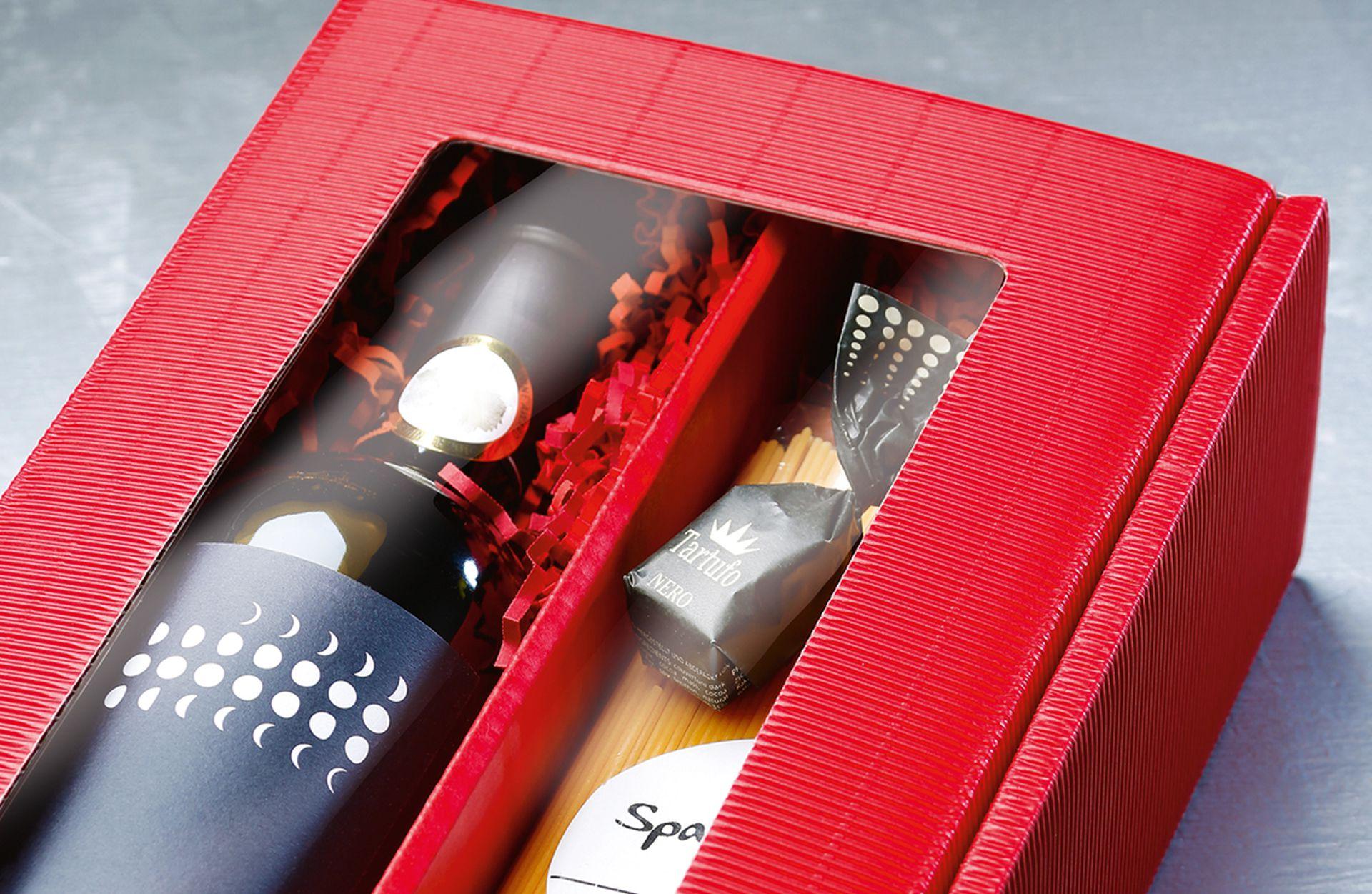 Emballage-cadeau série cannelure ouverte pour 2 bouteilles en rouge avec passe-partout