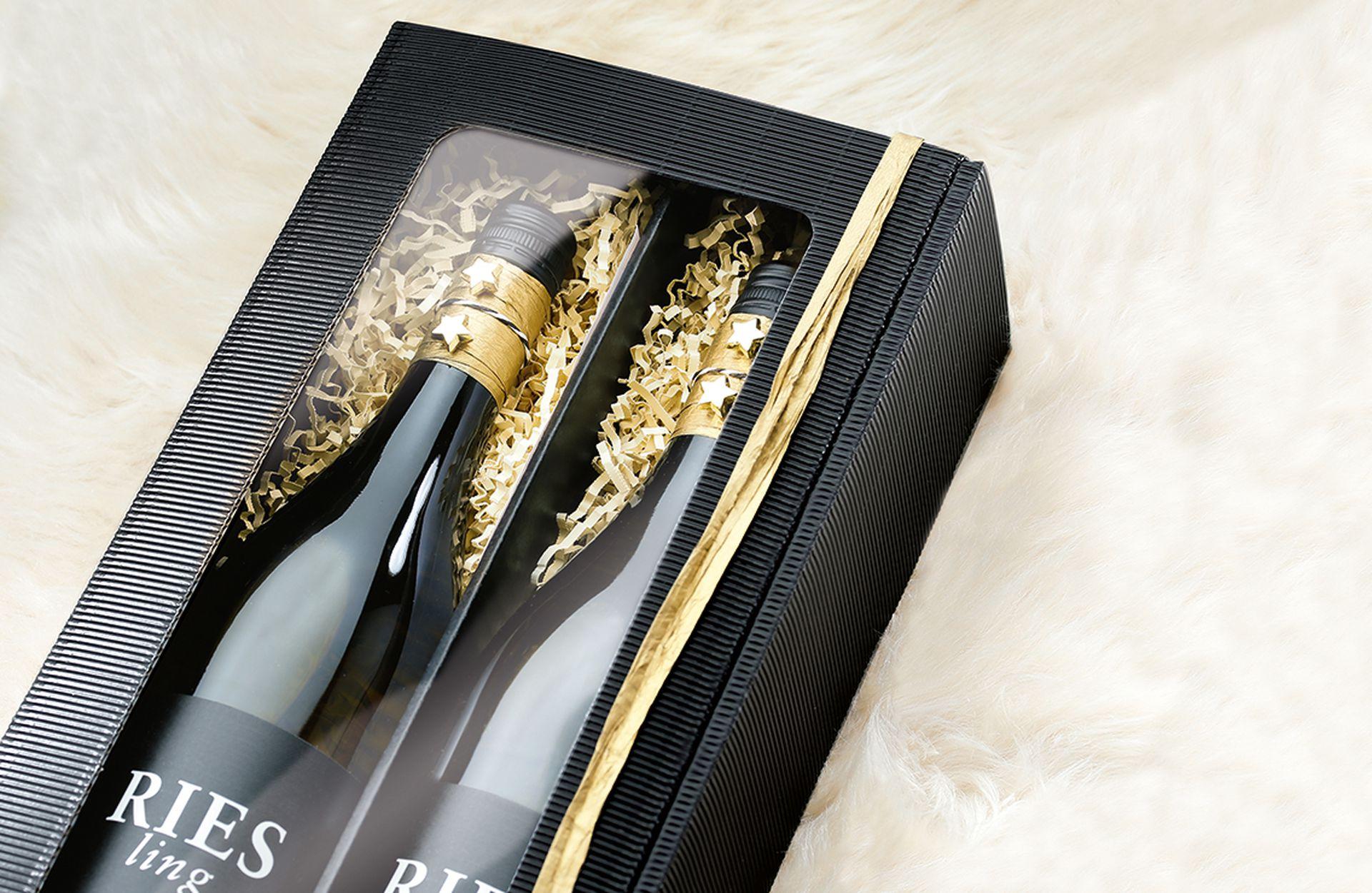 Emballage-cadeau série cannelure ouverte pour 2 bouteilles en noir en passe-partout