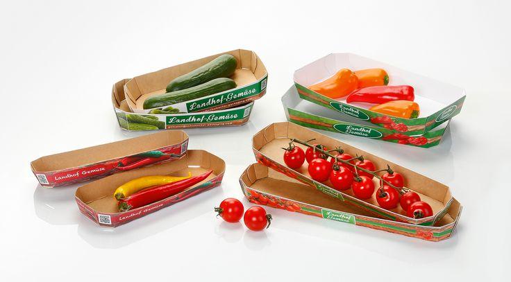 Diverses barquettes d'emballage pour légumes