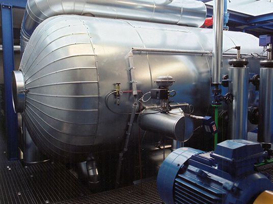 Stoomturbine in de fabriek in Schwarzenberg