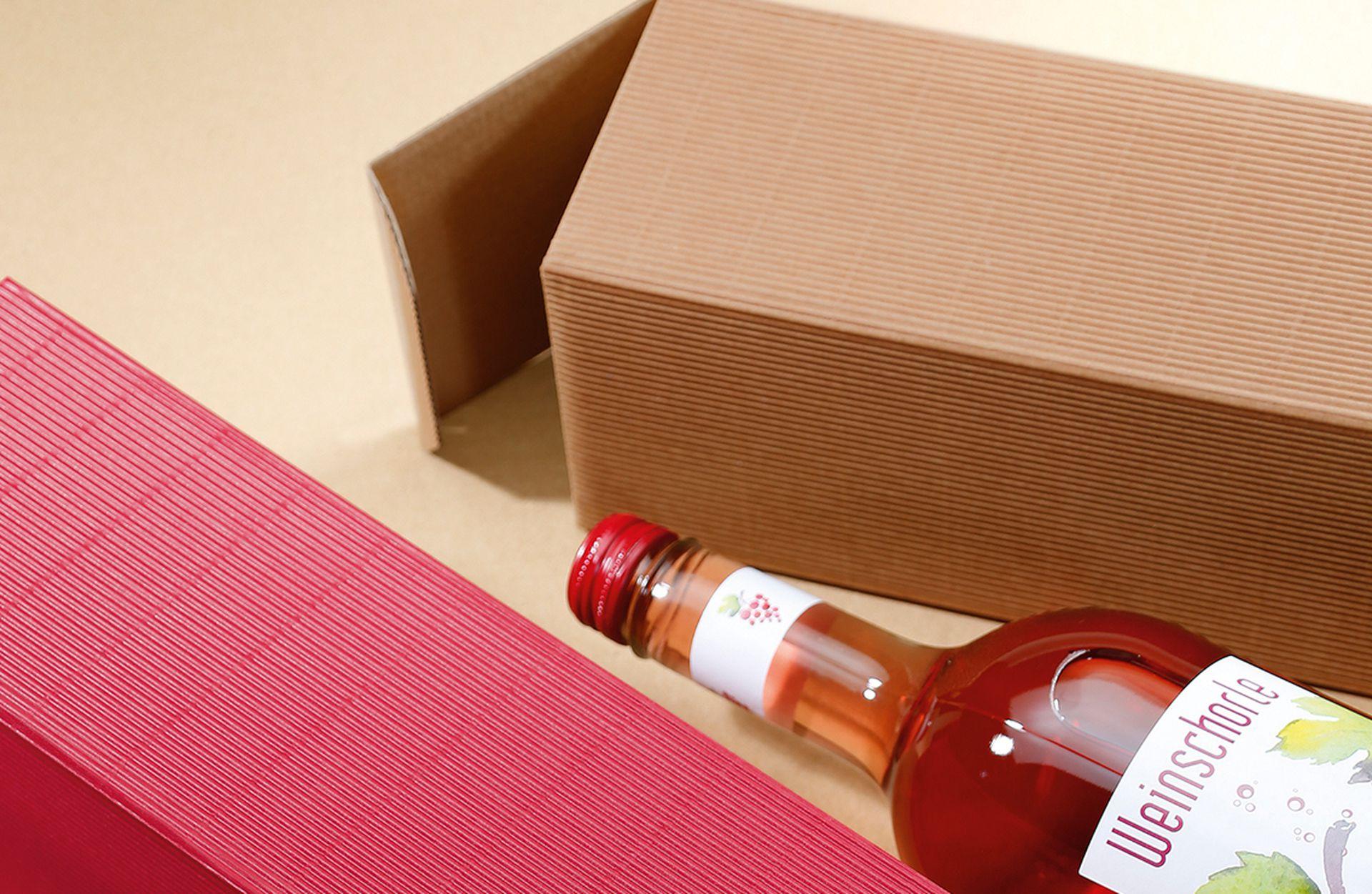 Emballage-cadeau série cannelure ouverte pour bouteilles rouge et nature