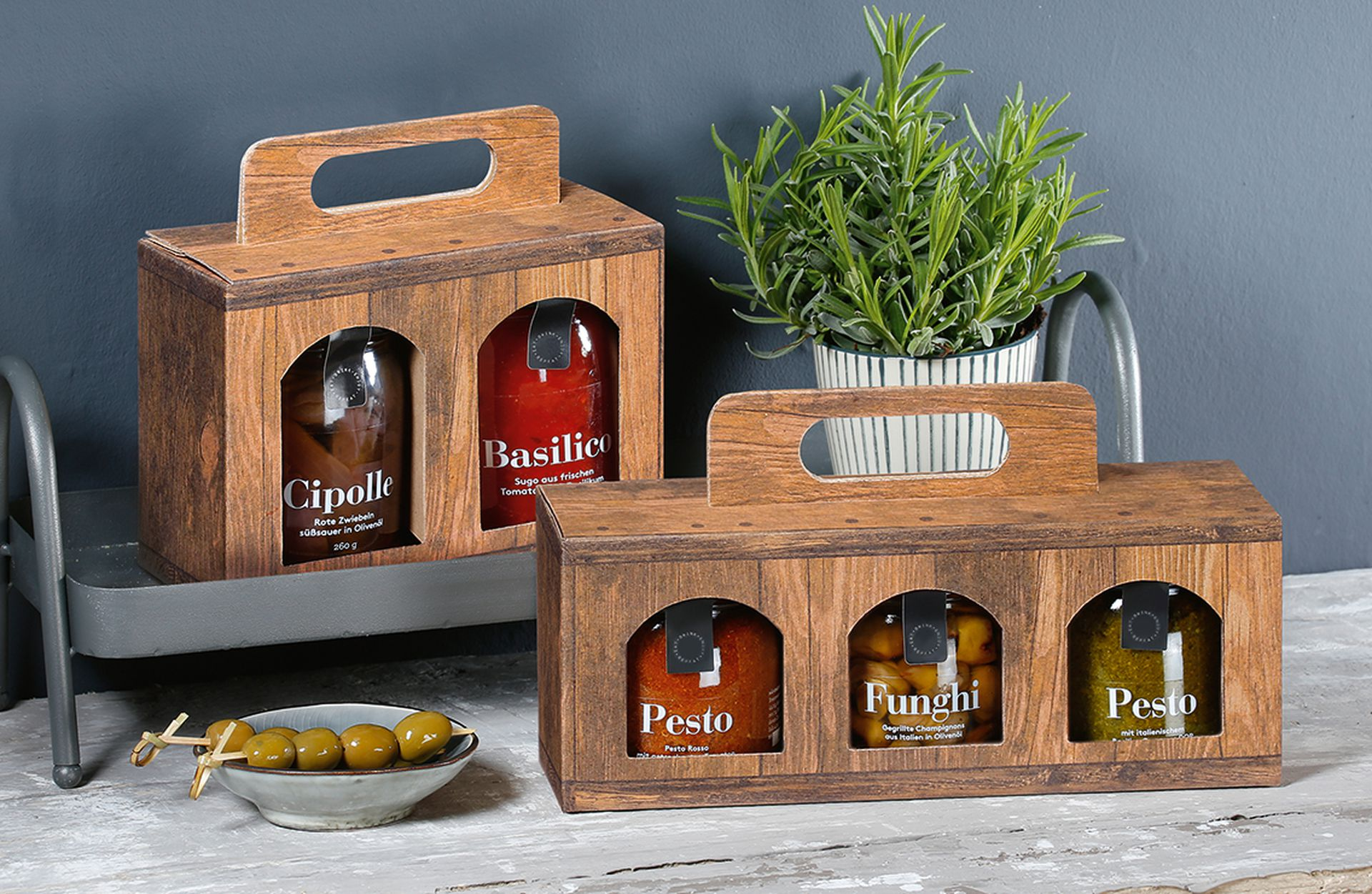 Gift bags, printed in Vintage for gourmet items