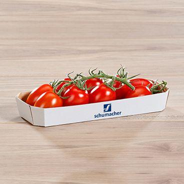 Barquette pour légumes blanche avec logo, remplie de tomates 300 g