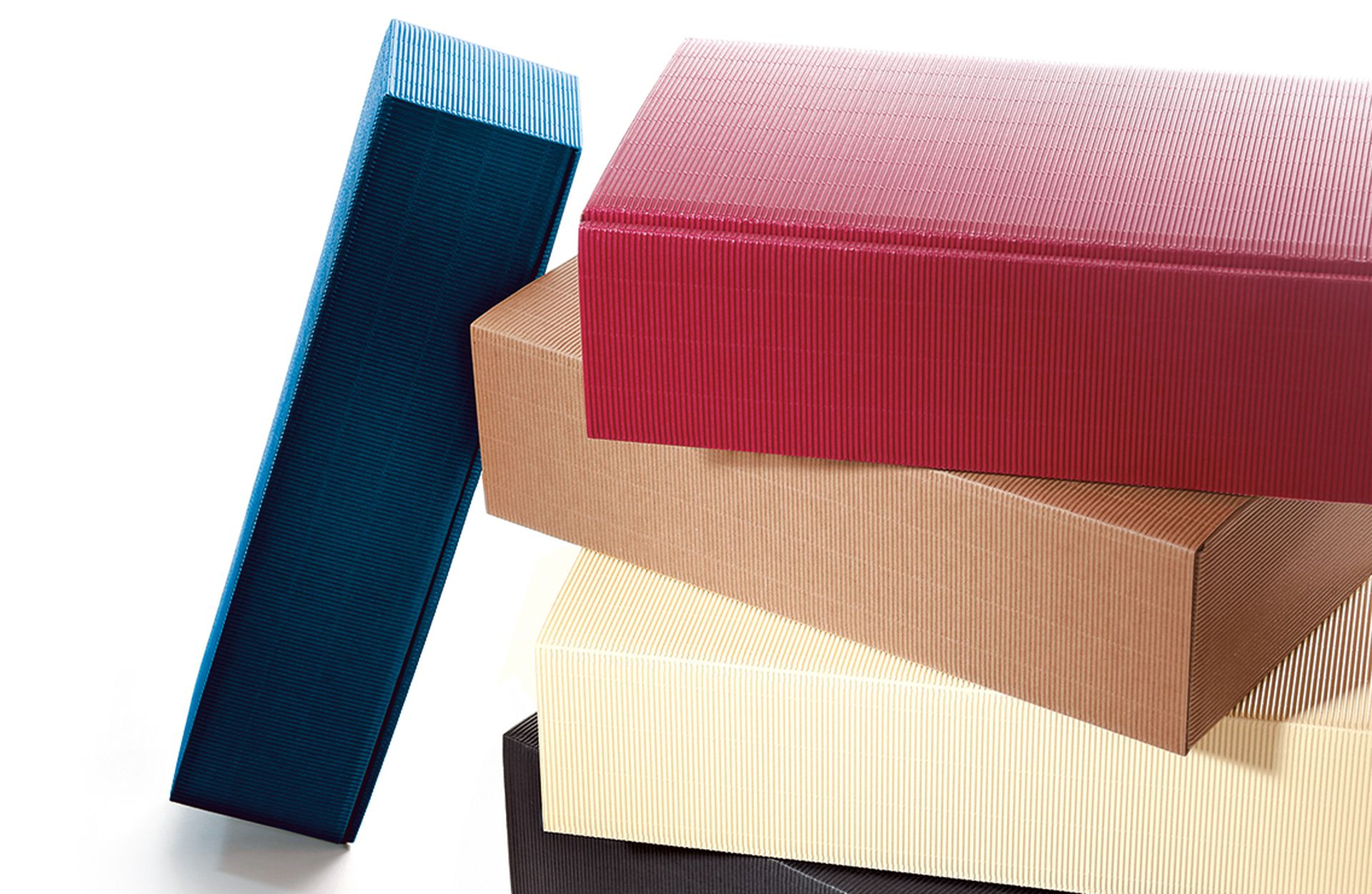 Emballage-cadeau série cannelure ouverte pour bouteilles en différentes couleurs