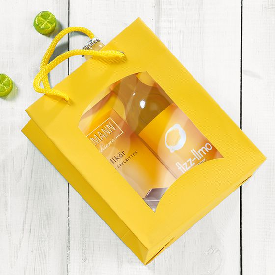 Gift bag with window in yellow