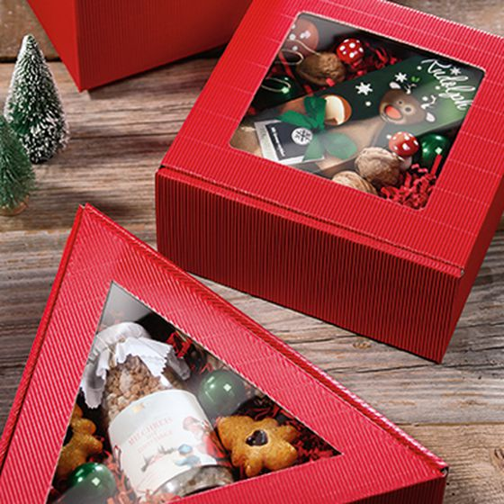 Red gift boxes in various shapes with window