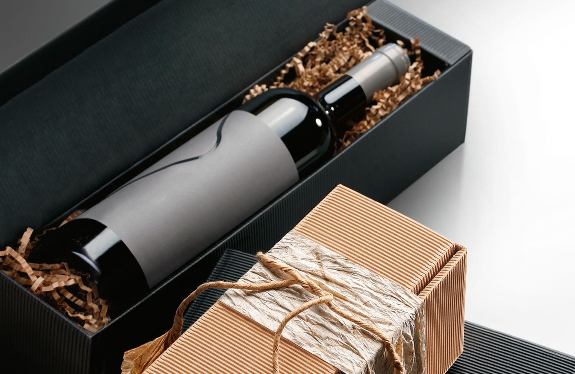 Emballage-cadeau série cannelure ouverte pour bouteilles nature et anthracite