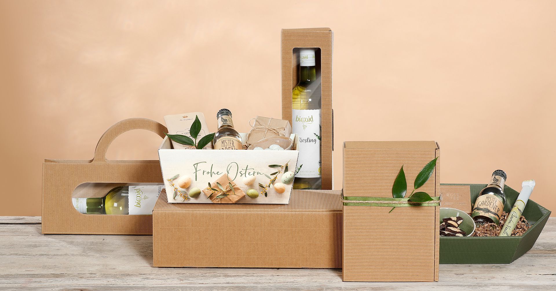 Gift packaging, natural single-face board in various shapes